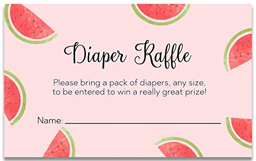 Watermelon Baby Shower Diaper Raffle Tickets Diaper Party Diaper Raffle Cards Watermelons Summer Soiree BabyQ BBQ Raffles Diapers Fruit Melon Pink Girls It's A Girl Red Green (25 count)