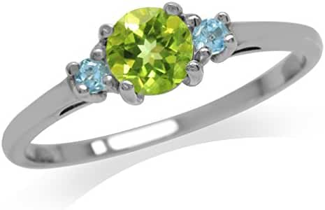 Petite Natural Peridot & Swiss Blue Topaz White Gold Plated 925 Sterling Silver Ring