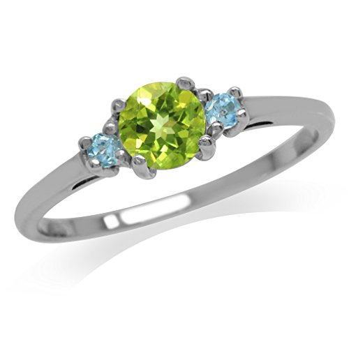 Petite Natural Peridot & Swiss Blue Topaz White Gold Plated 925 Sterling Silver Ring Size 7