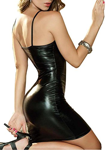 CEG Show Black Sexy Women's Gothic Hot Sleeveless Wet look Metallic Strapped Dress for Clubwear (M, Black) (Lame Catsuit)