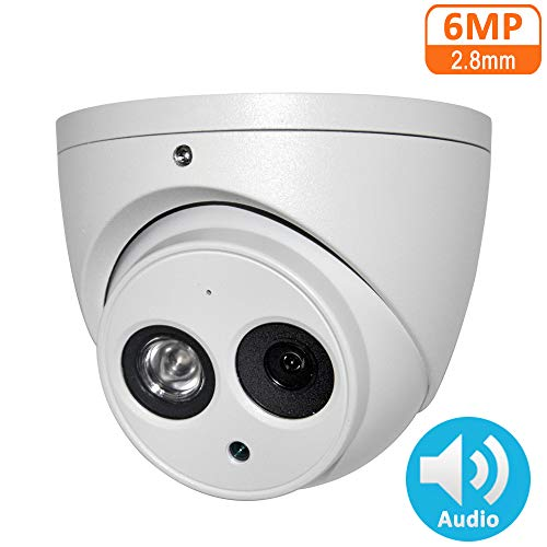 6MP POE IP Camera IPC-HDW4631C-A 2.8mm Indoor Outdoor Dome Security Camera with Audio Built-in Mic, IR Night Vision 50m, H.265, IP67, WDR, 3D DNR, Onvif…