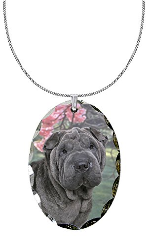Canine Designs Chinese Shar-Pei Scalloped Edge Oval Pendant