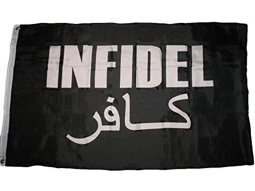 3'x5' INFIDEL FLAG WAR VET USA IRAQ AFGHANISTAN VETERAN ARABIC AND ENGLISH 3X5 Vivid Color and UV Fade Resistant Canvas Header and polyester material