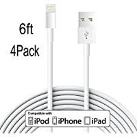 Frieso [6FT/4PACK] Lightning Cable Extra Long USB Cord Charging Cable for iPhone7,7plus,SE,6s,6s plus,6plus,6,5s 5c 5,iPad Mini,Air,iPad5,iPod (White).