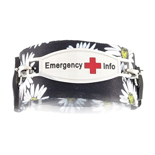 Women's Medical Alert ID Bracelet   Easy On and Off with Adjustable Hoop-and-Loop Closure   Free Engraving Included   Universal, Daisy - Size 6