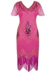 Rose 1920s Sequin Art Dress with Sleeve