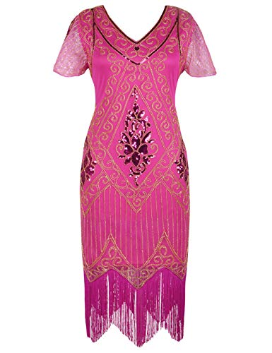 PrettyGuide Women's 1920s Dress Art Deco Cocktail Dress Short Sleeve XL Rose