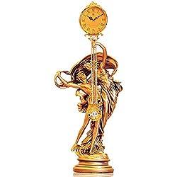 European Style Abstract Table Clock Sculpture Pendulum Clock Adam and Eve Living Room Decorative,Metal Resin Clock Home Decoration-Golden 38x88cm(15x35inch)