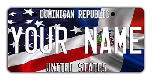 BleuReign(TM Personalized Custom Name Mixed USA and Dominican Republic Flag Bicycle Bike Moped Golf Cart 3