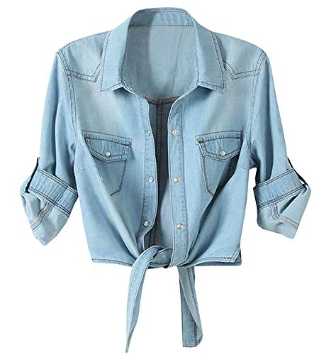Blue Denim Crop - Women's Roll Up Sleeves Crop Tie Top Denim Shawl Jeans Shirt Light Blue, XX-Large