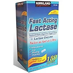 Kirkland Signature Fast Acting Lactase Natural Dairy Digestive Supplement, 180-Count Caplets