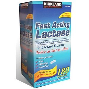 Kirkland Signature Fast Acting Lactase Natural Dairy Digestive Supplement, 180-Count Caplets