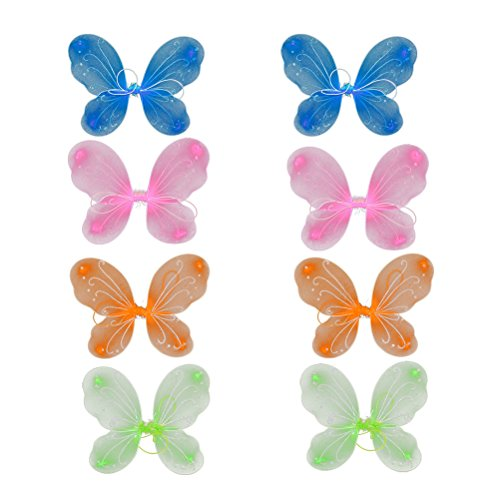 Tinksky 8Pcs Girls Butterfly Fairy and Angel Wings for Kids Garden Parties Birthday Favors Halloween Costumes Christmas Birthday Gift for Children 4 Colors -