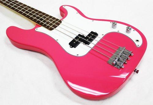 crescent electric bass guitar starter kit pink color includes amp crescenttm digital e. Black Bedroom Furniture Sets. Home Design Ideas
