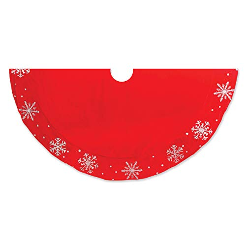 Gerson Premium 48 inch Red Velvet Christmas Tree Skirt with Silver Glitter Snowflake Pattern - Beautiful Classic Christmas Tree Skirt with Unique Design