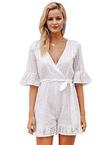 Simplee Women's V Neck Hollow Out Jumpsuit Flared Short Sleeve Embroidered Short Romper White 10 ()