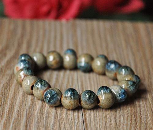 (Funnmart Fashion Style ice Crack Original Ceramic Bronze Handmade Bungee Cord Porcelain Beads Bracelets for Women)