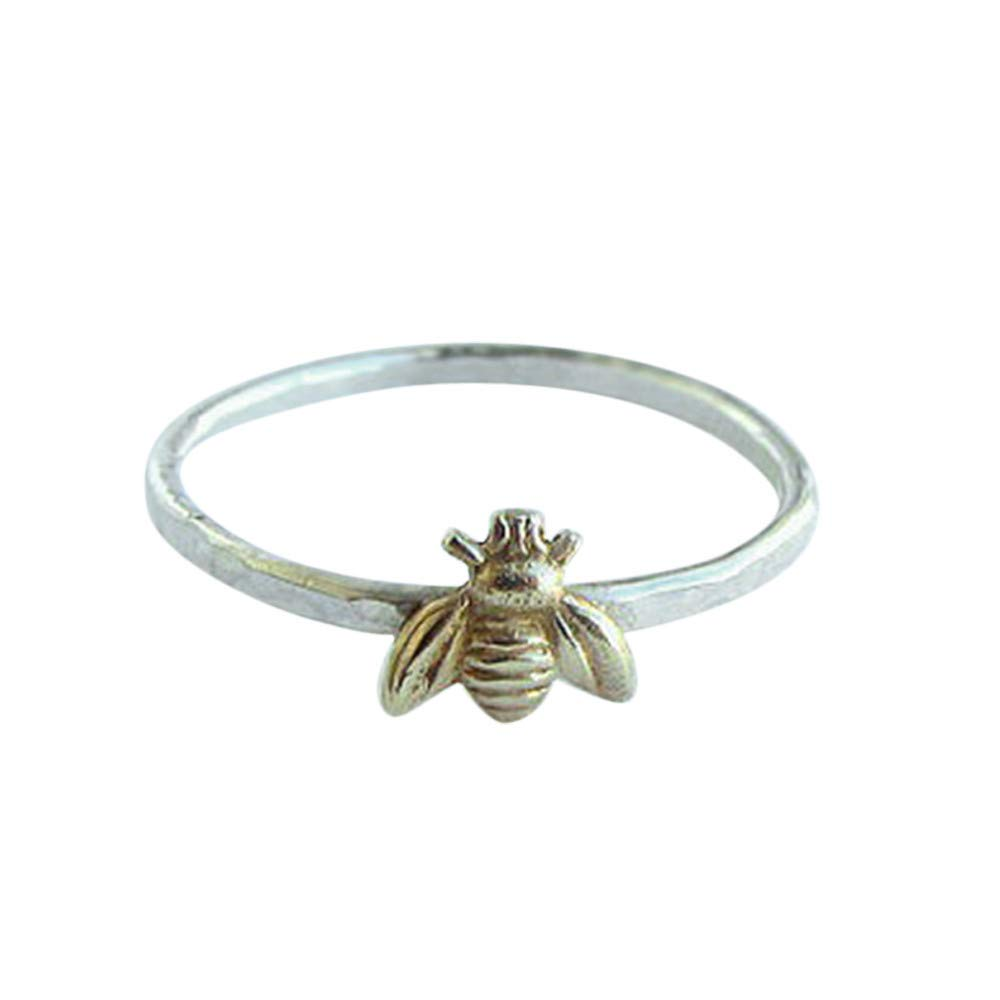 Simple Tiny Solid Sterling Silver Bee Ring Gold Hammered Band Stacking Rings Valentine's Day Gifts for Girlfriend Boyfriend (US Size)