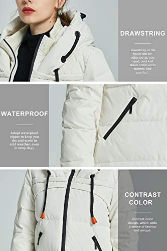 Orolay Women's Thickened Contrast Color Drawstring Down Jacket Hooded Parka Long Puffer Coat