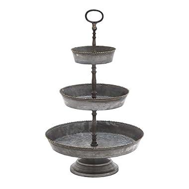 Deco 79 Farmhouse 3-Tiered Round Metal Tray Stand, 22  H x 13  L, Galvanized Gray Finish