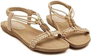 Modaworld scarpe Sandali Casual da Estate, Donna Open Toe Perline Flip Flop Sandali Estivi Scarpe da Spiaggia Basse Tacco Piatto Bohemia Decorate