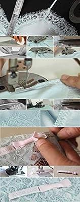 Sangluo Women's Pure Silk Essentials Sexy Lace V Neck Cami & Shorts Set Light Blue