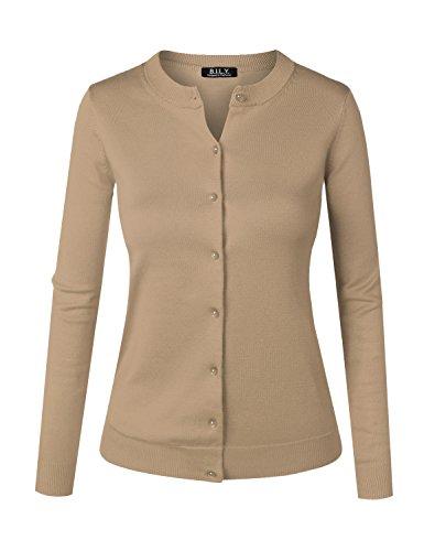 Beige Womens Cardigan (BILY Women's Unique Button Long Sleeve Soft Knit Cardigan Sweater Melange Khaki Large)