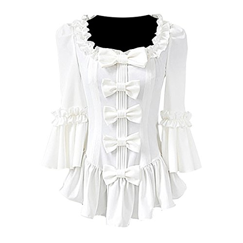 Partiss Womens Vintage Ruffle Bows Victorian Lolita (Cheap Victorian Clothing)