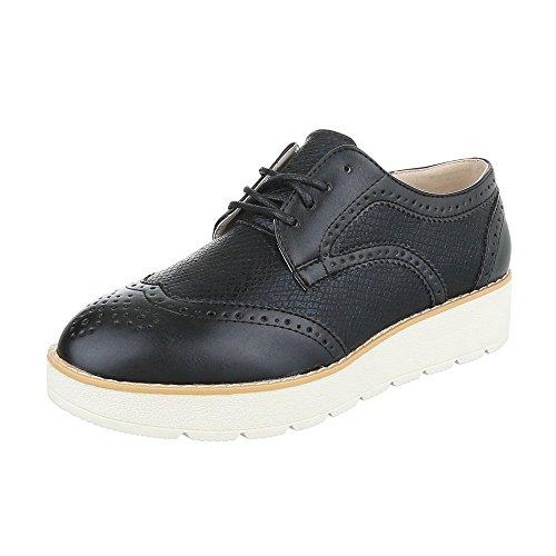 Ital-Design - Zapatos Planos con Cordones Mujer Schwarz 62016