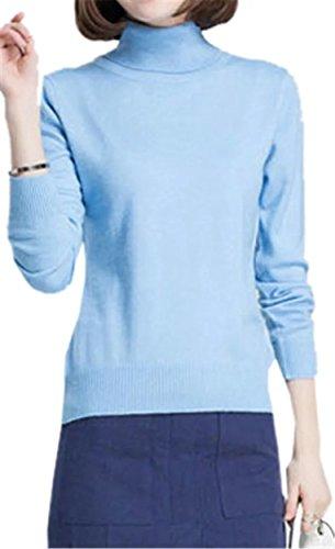 (Betusline Women Classic Basic Solid Turtleneck Sweater Pullover Blue)