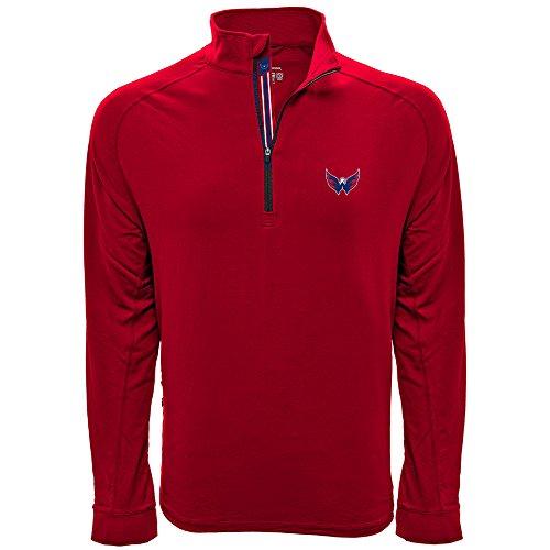 Levelwear LEY9R NHL Washington Capitals Men's Peak Banner Stripe Quarter Zip Mid-Layer Jacket, Large, Flame Red