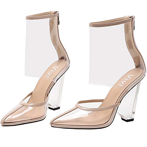 (vivianly Woman Clear Stiletto High Heels Pump Pointed Toe Sandal with Back Zip Sandals Nude)