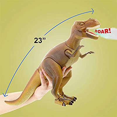 Liberty Imports Smoke Breathing Remote Control Tyrannosaurus Rex Kids RC Trex Dinosaur Figure Walking T-Rex Electronic Toy Action Robot with Moving Head, Lights, Roaring Sounds: Toys & Games