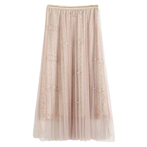 Yiiquan Femme Vintage Maxi Jupe lgant Longue Plage Bohme Pliss Rtro Robe Abricot