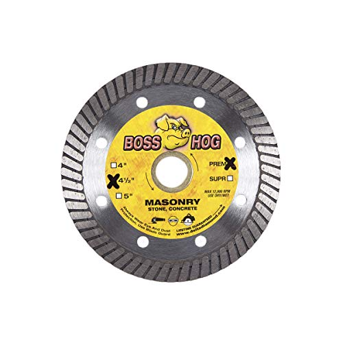 "Boss Hog 4 1/2-Inch Turbo Masonry Diamond Blade, 7/8-5/8"" Arbor, High Performance, General Purpose Dry or Wet Cutting for Masonry, Concrete, Stone, Brick, Blocks, Similar (4 1/2-Inch)"