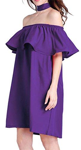 Les Femmes Domple Été Volants Épaule Off Sexy Solide Mini Robe Avec Ceinture Violette