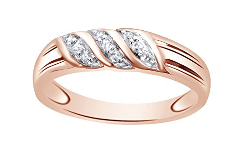 White Natural Diamond Wedding Band Ring In 10K Solid Rose Gold (0.1 Ct) - 0.1 Ct Wedding Band