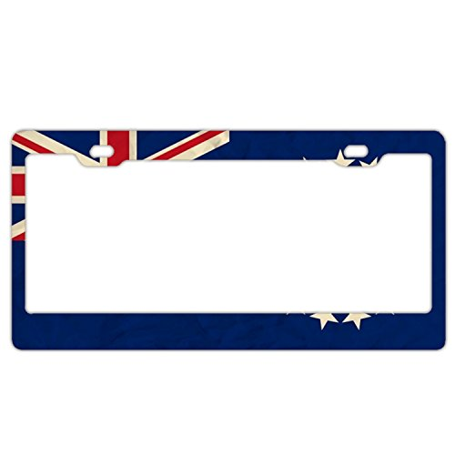 EXMENI Cook Islands Paper Flag License Plate Frame Theft-Proof Frames Stainless Steel Board Frames (Womens Cook Cap)