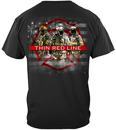 fire Fighter t Shirt | Firefighter American Flag Thin Red Line T Shirt FF2353S