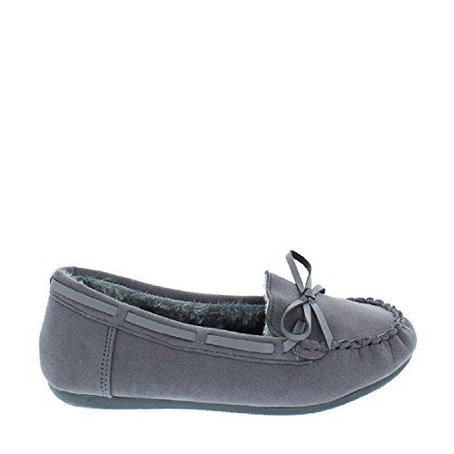 Moccasin Women's Grey Slipper Faux Shoes Suede LOV Fur Zw44Aq