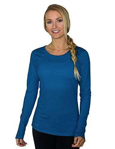 WoolX Remi - Women's Long Sleeve Tee - Lightweight, Moisture Wicking - Merino Wool Top, Horizon Blue, Medium