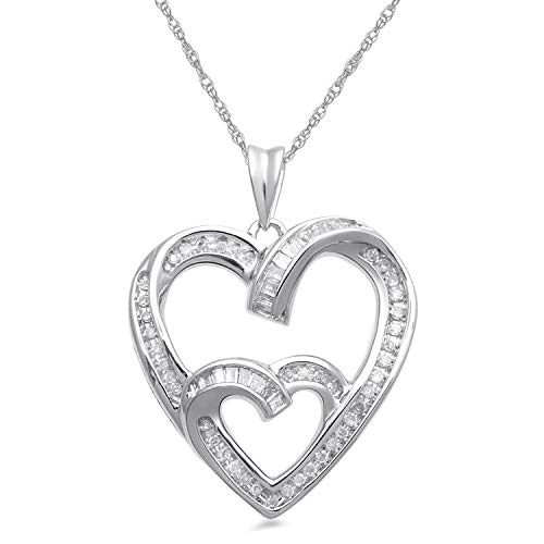 (Jewelili Sterling Silver 1/4cttw Baguette and Round White Diamond Heart Pendant Necklace, 18