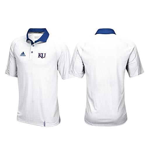 adidas Kansas Jayhawks NCAA Men's Sideline Climachill Performance White Polo Shirt ()