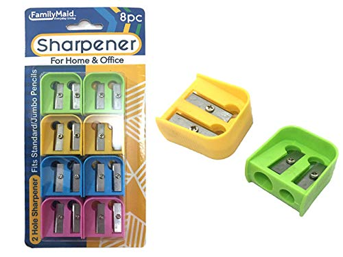 Sharpeners 8 pcs 2Blade 4 Assorted Colors, Case of 144 by DollarItemDirect