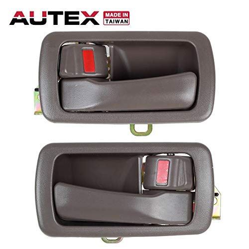 AUTEX Door Handle 2pcs Brown Interior Inner Oak Front/Rear Left Right Driver Passenger Side Compatible with Toyota Camry 1992 1993 1994 1995 1996 80486 80493 6920606011KO 6920506011K0