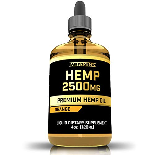 iVitamins Hemp Oil for Pain Anxiety Relief :: 2,500mg 4 fl oz :: May Help with Stress, Pain, Anxiety, Sleep, Depression, Headaches and More :: Hemp Extract :: Rich in Omega 3,6,9 :: Orange Flavor