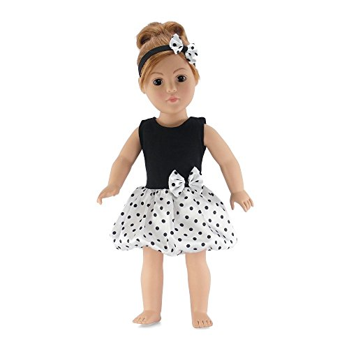 18 Inch Doll Clothes | Black and White Easter Party Dress with Polka Dot Pattern, Includes Matching Headband with Bow | Fits American Girl Dolls (Doll Shoes Rose)