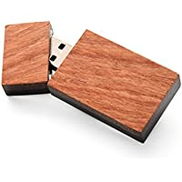 32GB USB 3.0 - Single Item Handmade - Elegant Split Wood Design - Rosewood Front with Black African Ebony Back