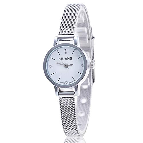 (Women Ladies Silver Stainless Steel Mesh Band Wrist Watch Crystal Stainless Steel Wrist Watches,White,China)