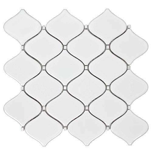 (MTO0249 Modern Arabesque White Glazed Ceramic Mosaic Tile)